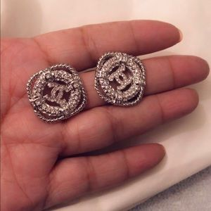 Chanel Crystal Strass CC Earrings